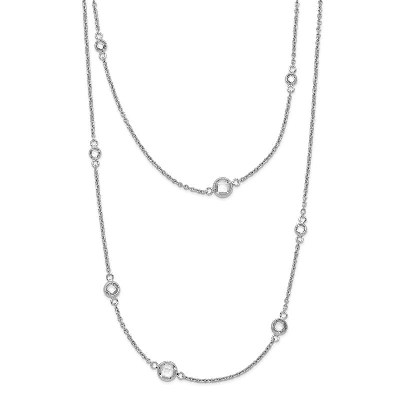 Quality Gold Sterling Silver Rhodium-plated w/2in. Ext. CZ Station Layered Necklace