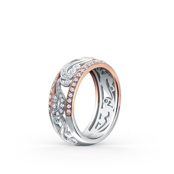 Two Tone Vine Diamond Wedding Band