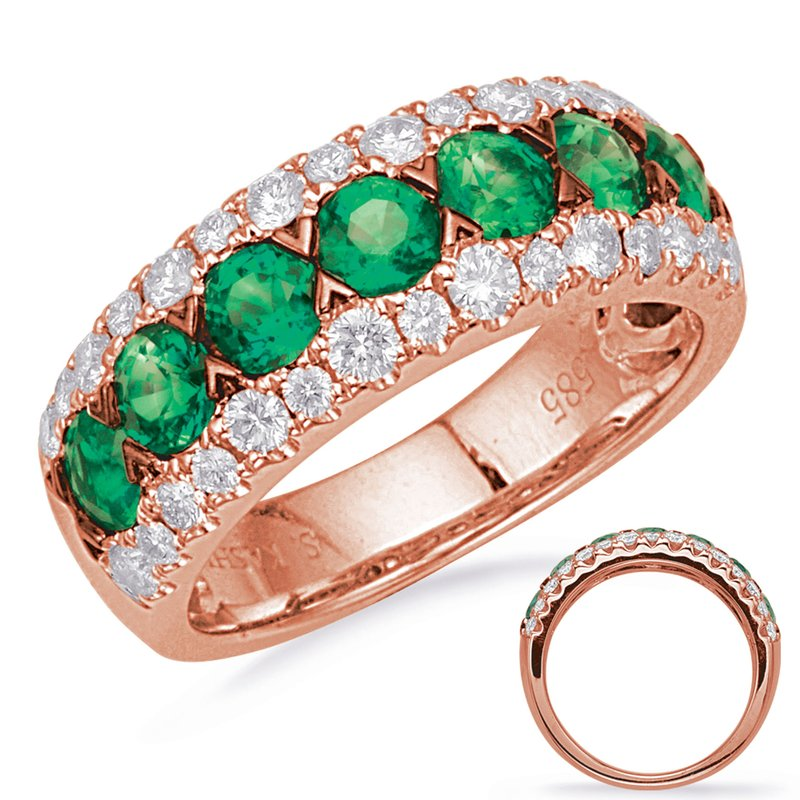 S. Kashi  & Sons Rose Gold Emerald & Diamond Ring