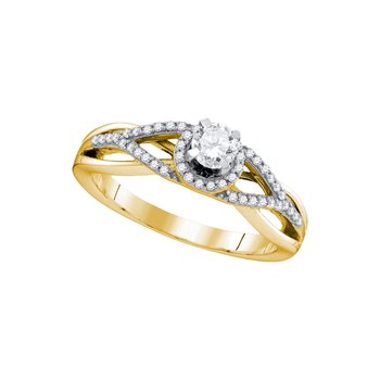 10k Yellow Gold Womens Round Diamond Bridal Wedding Engagement Anniversary Ring 3/8 Cttw