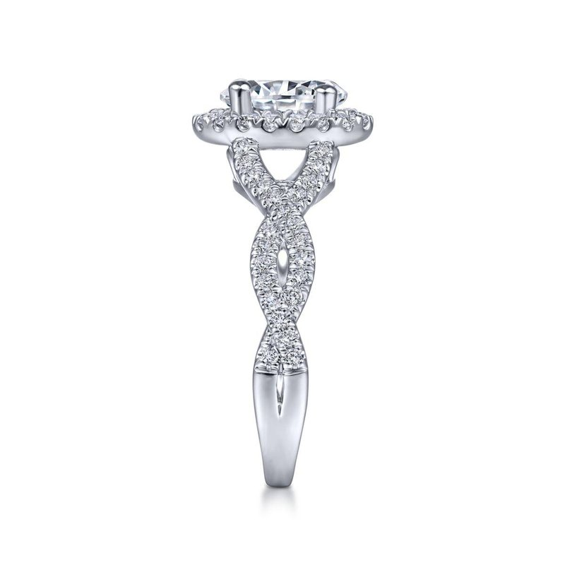 Gabriel Bridal 14K White Gold Oval Halo Diamond Engagement Ring