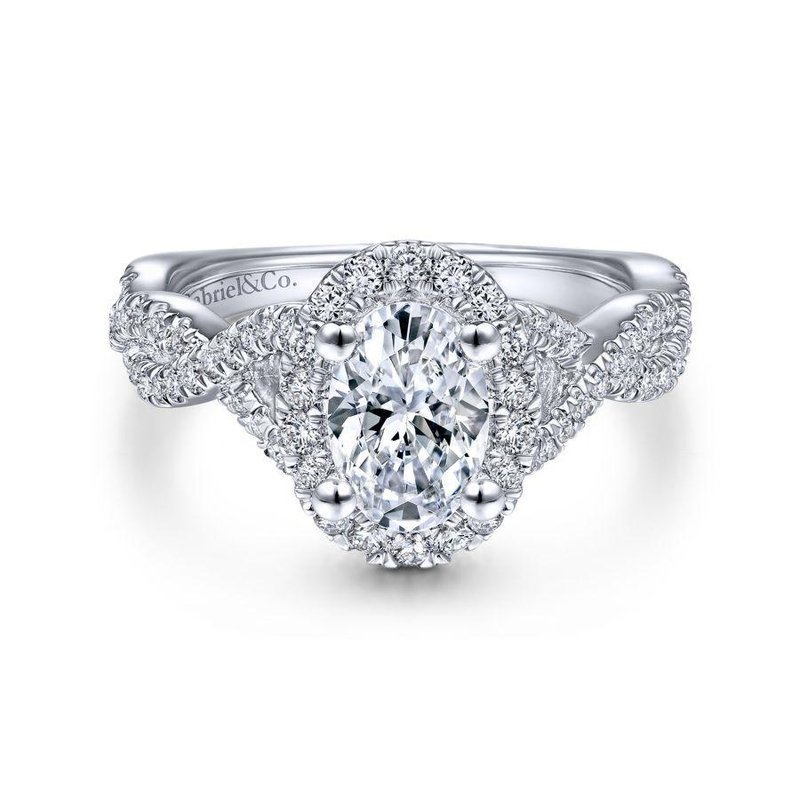 Gabriel  14K White Gold Oval Halo Diamond Engagement Ring