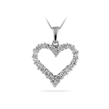 14K WG Diamond Heart Prong Pendant