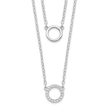 Sterling Silver Rhodium-plated CZ Circles 16in W/2in ext Necklace
