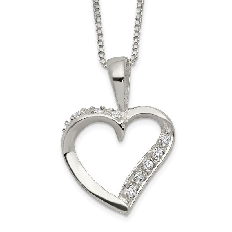 Quality Gold Sterling Silver CZ Heart Necklace