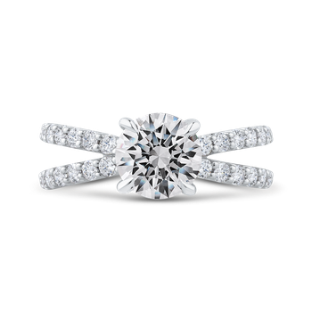 18K White Gold Round Diamond Split Shank Engagement Ring (Semi-Mount)