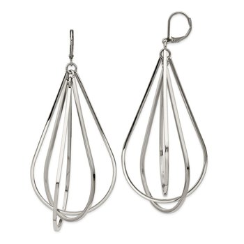 Stainless Steel Polished Dangle Leverback Earrings