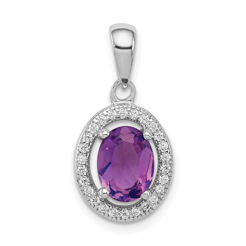 Quality Gold Sterling Silver Rhodium-plated Polished Amethyst and CZ Pendant