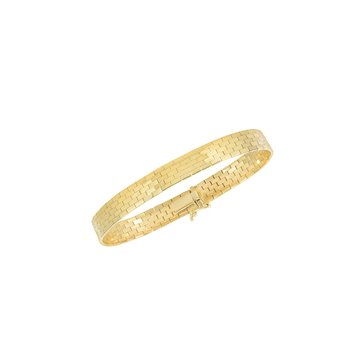 14K Gold Thin Brick Pattern Heritage Bracelet