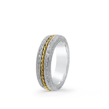 Platinum 18K Yellow Gold Hand Engraved Band