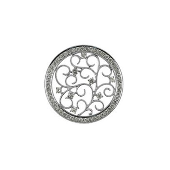 14K White Gold Antique Circle 1.5 Ct Diamond Pendant