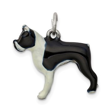 Sterling Silver Enameled Boston Terrier Charm