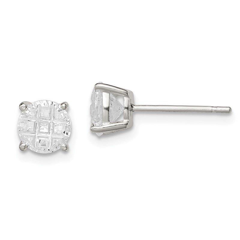 Quality Gold Sterling Silver 6mm Round Basket Set Laser-cut CZ Stud Earrings