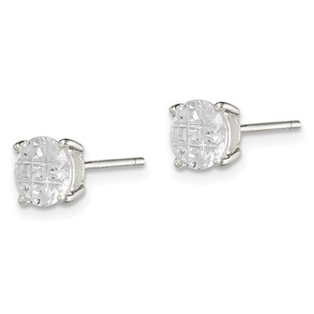 Sterling Silver 6mm Round Basket Set Laser-cut CZ Stud Earrings