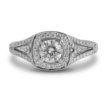14K WG Diamond Eng Ring with Sqaure Halo and 5.2mm Center
