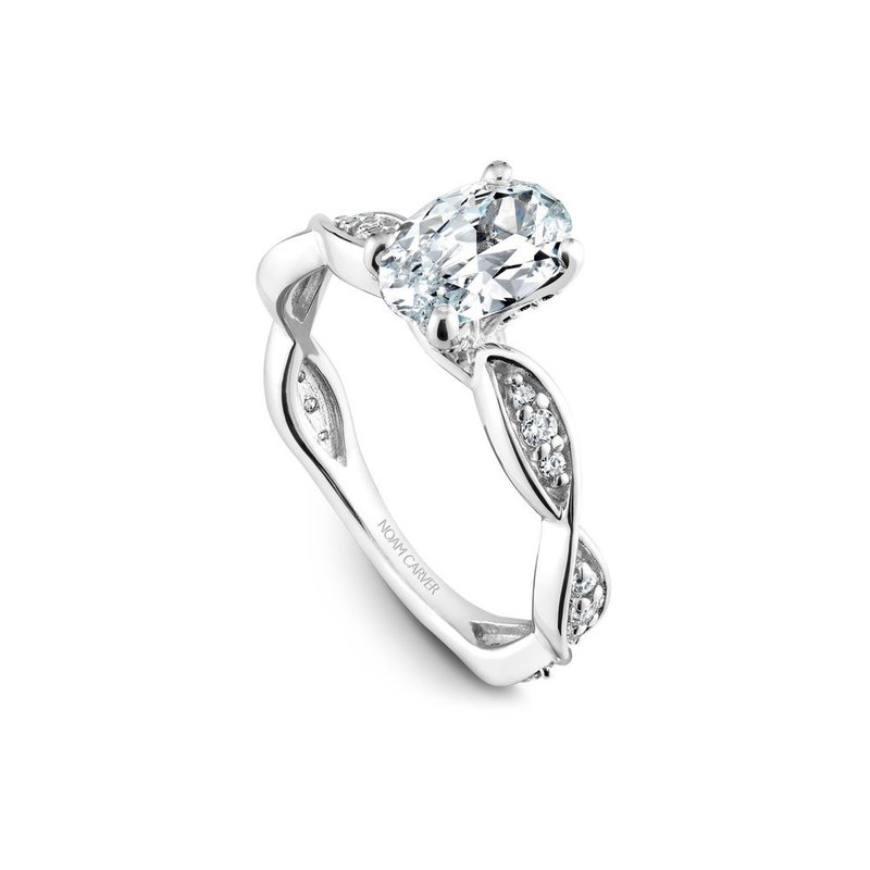 Noam Carver Side-Stone Oval Shaped Solitaire Engagement Ring