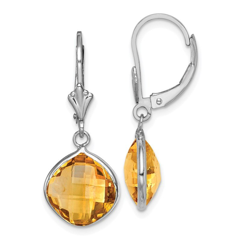 Quality Gold Sterling Silver Rhodium-plated Citrine Dangle Lever Back Earrings
