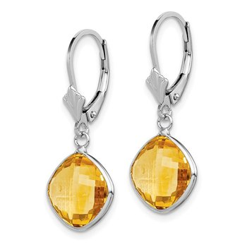 Sterling Silver Rhodium-plated Citrine Dangle Lever Back Earrings