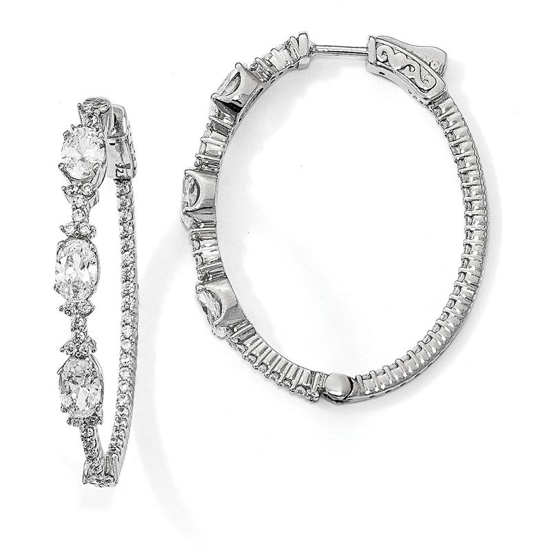 Quality Gold Sterling Silver Rhodium-plated Fancy CZ In & Out Oval Hoop Earrings