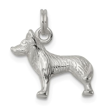 Sterling Silver Polished Wolf Charm