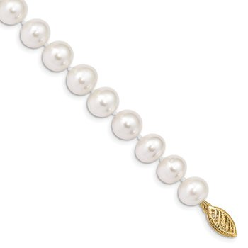 14k 8-9mm White Near Round Freshwater Cultured Pearl Necklace