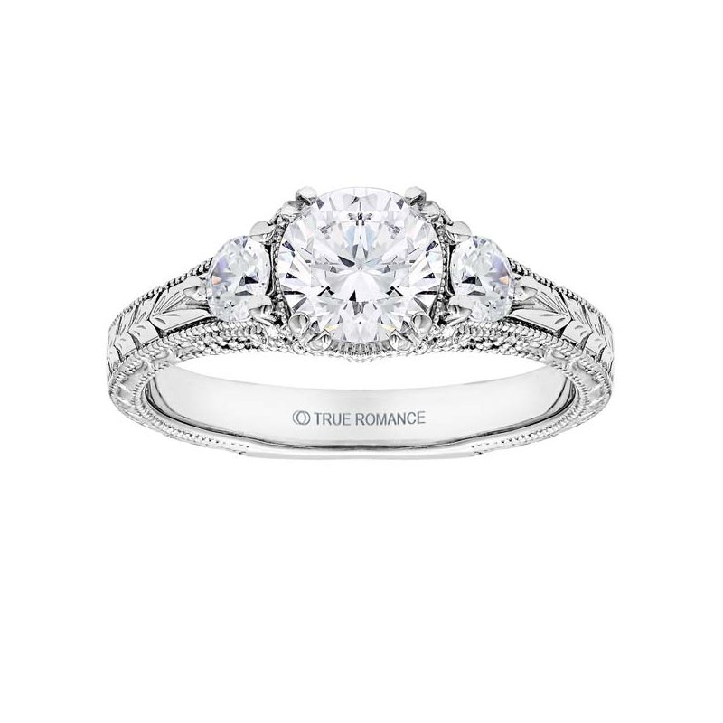 True Romance Round Cut Diamond Vintage Style Engagement Ring