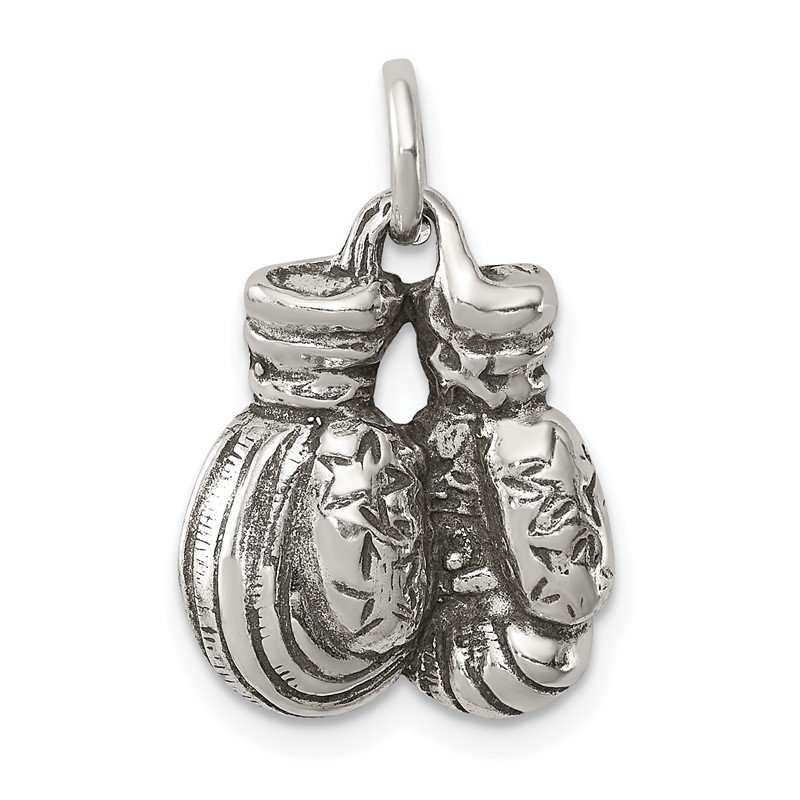 Quality Gold Sterling Silver Antiqued Boxing Gloves Charm
