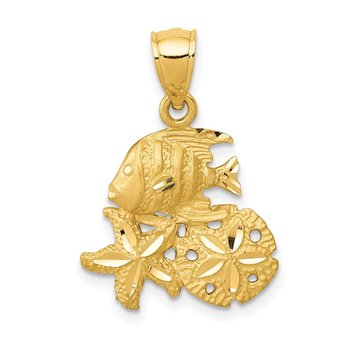 14k Satin Diamond-cut Fish, Starfish and Sand Dollar Pendant