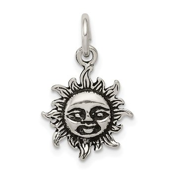 Sterling Silver Antiqued Sun Charm