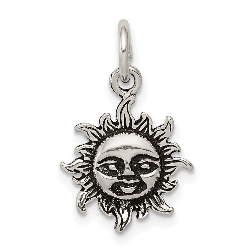 Quality Gold Sterling Silver Antiqued Sun Charm