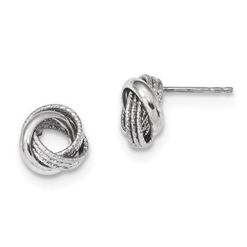 14k White Gold Textured Polished Love Knot Post Earrings