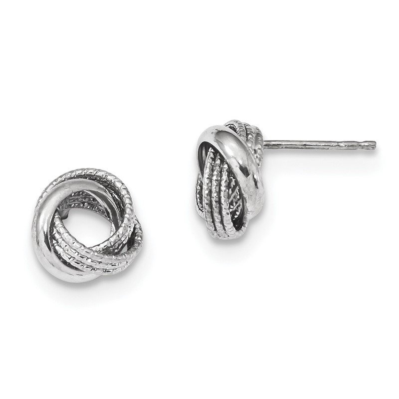 Quality Gold 14k White Gold Textured Polished Love Knot Post Earrings
