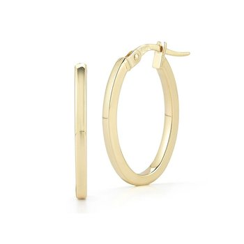 18Kt Gold Petite Oval Hoop Earrings