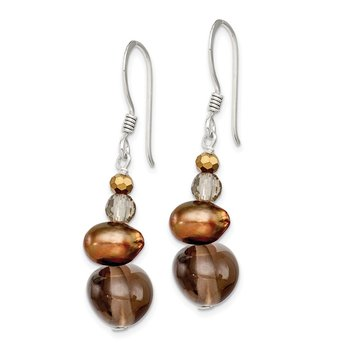 Sterling Silver FW Cultured Pearl, Crystal and Quartz Dangle Earrings