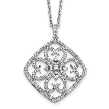 14k White Gold Diamond Vintage Necklace