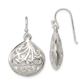 Sterling Silver Polished Teardrop Swirl Design Shepherd Hook Earrings