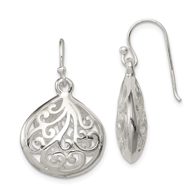 Quality Gold Sterling Silver Polished Teardrop Swirl Design Shepherd Hook Earrings
