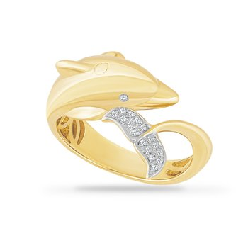 14K DOLPHIN RING WITH 18 DIAMONDS ON THE TAIL 0.06CT