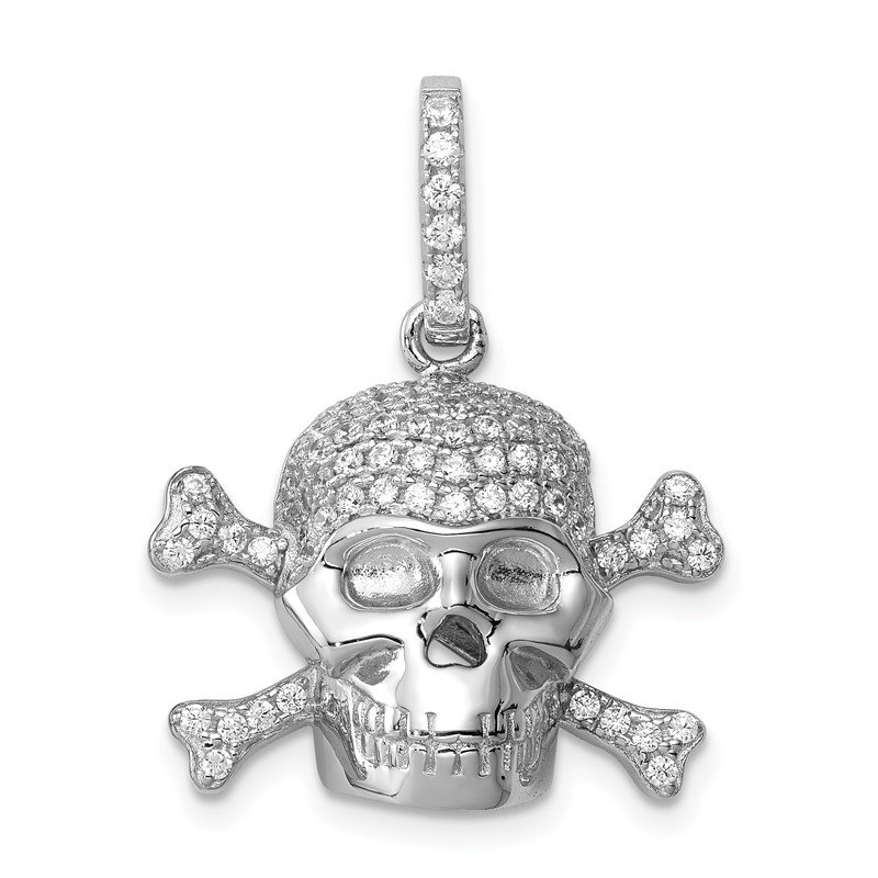 Quality Gold Sterling Silver Rhodium-plated & CZ Skull Pendant