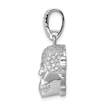 Sterling Silver Rhodium-plated & CZ Skull Pendant