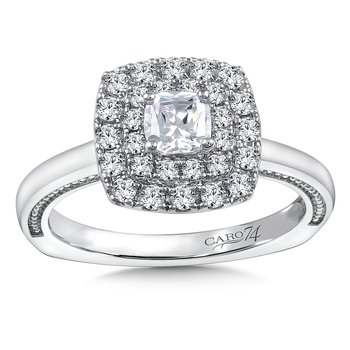 Diamond Halo Engagement Ring Mounting in 14K White Gold with Platinum Head (.40 ct. tw.)