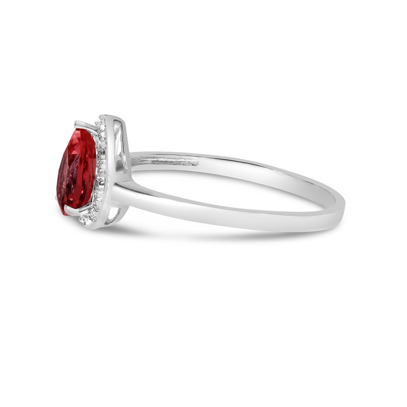 Color Merchants 14k White Gold Pear Garnet And Diamond Ring