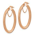 Quality Gold 14k 3x25mm Rose Gold Twisted Round Hoop Earrings