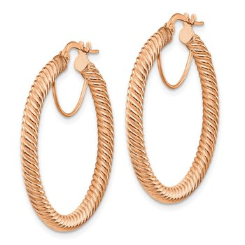 14k 3x25mm Rose Gold Twisted Round Hoop Earrings