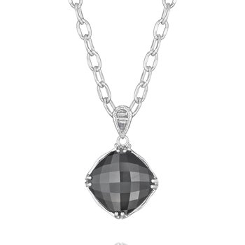 Cushion Cut Gem Pendant featuring Hematite