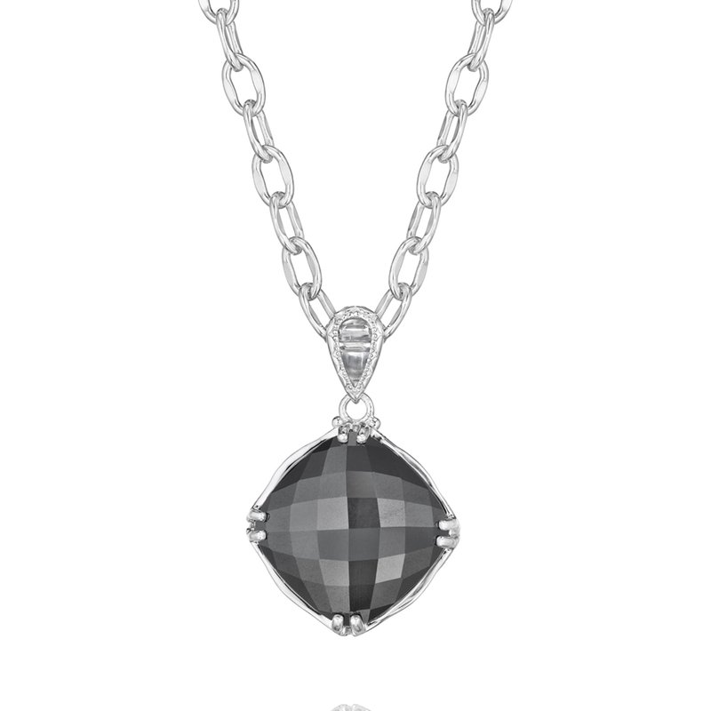 Tacori Fashion Cushion Cut Gem Pendant featuring Hematite