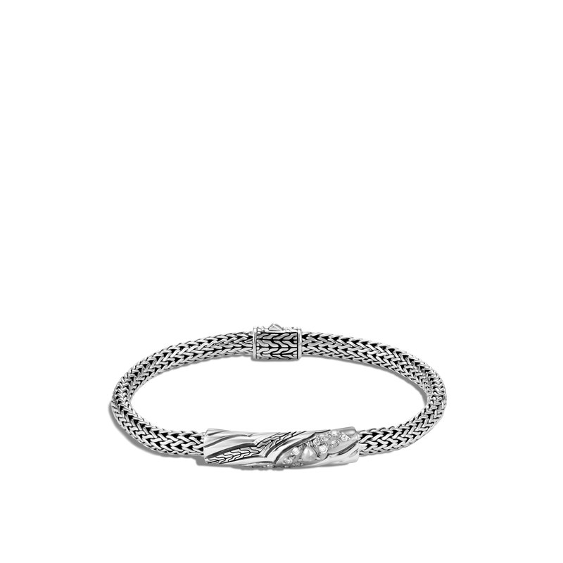 JOHN HARDY Lahar 5MM Station Bracelet in Silver with Diamonds