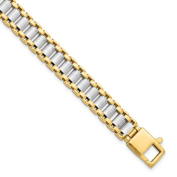 Leslie's 14K Two-tone Polished Link Men's Bracelet