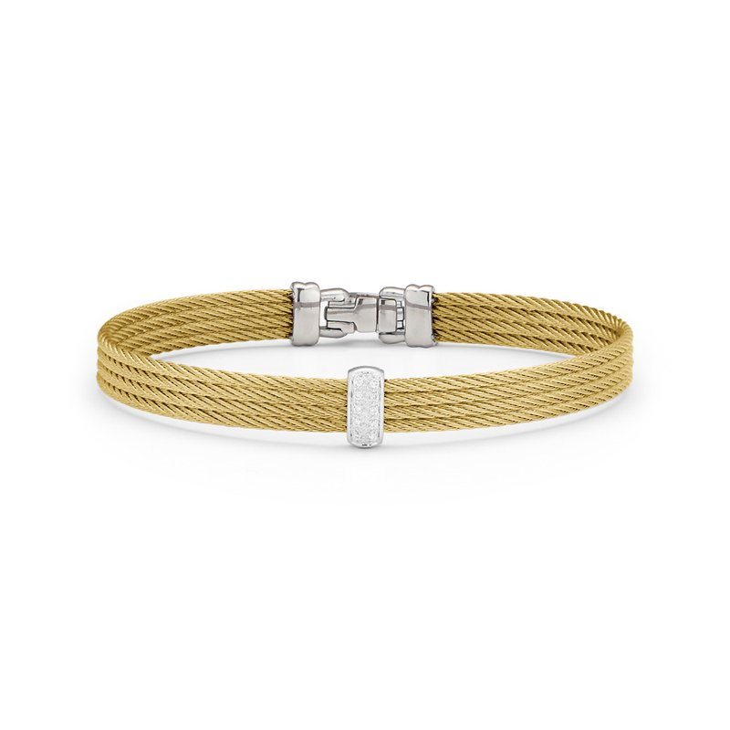 ALOR Yellow Cable Barred Bracelet with 18kt White & Diamonds