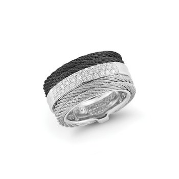 Black & Grey Cable Channel Ring with 18kt White Gold & Diamonds
